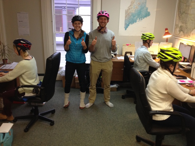 Just another day at the Apogee office. We want to keep our heads as safe as possible!