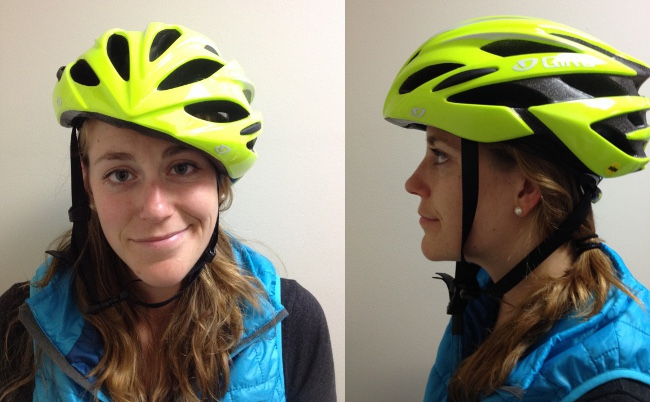 Izzy needs some help. The helmet is too big, the chin strap is way too loose. She should definitely NOT be getting on a bike right now. On the bright side, she is wearing a high visibility yellow helmet!